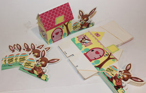 Happy Easter Houses & Rabbits  -  VINTAGE