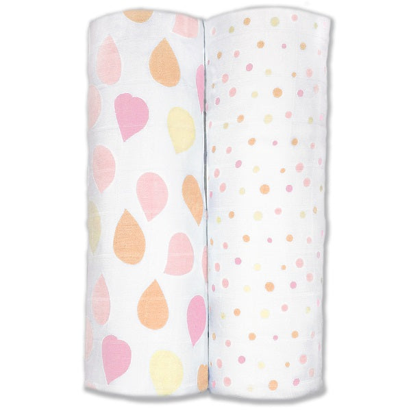 Amazing Baby Bamboo Silky Swaddle Muslin Blankets, Set of 2, Viscose from Bamboo, Petals and Dots, Pink