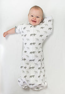 Amazing Baby Swaddle Sack with Arms Up Mitten Cuffs, Tiny Elephants, Sterling, Small, 0-3 Months
