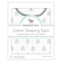 Amazing Baby Cotton Sleeping Sack with 2-Way Zipper, Tiny Bear, Sterling, Small