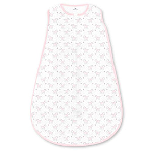 Amazing Baby Cotton Sleeping Sack with 2-Way Zipper, Tiny Zebra, Pastel Pink, Small