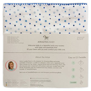 Amazing Baby Ultimate Swaddle Blanket, Premium Cotton Flannel, Playful Dots, Multi Blue