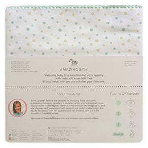 Amazing Baby Ultimate Swaddle Blanket, Premium Cotton Flannel, Playful Dots, Multi SeaCrystal