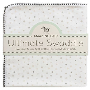 Amazing Baby Ultimate Swaddle Blanket, Premium Cotton Flannel, Playful Dots, Sterling