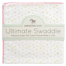 Amazing Baby Ultimate Swaddle Blanket, Premium Cotton Flannel, Playful Dots, Multi Pink