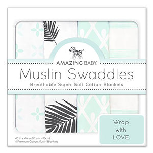 Amazing Baby Muslin Swaddle Blankets, Set of 4, Premium Cotton, Paradise, Pastel SeaCrystal
