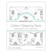 Amazing Baby Cotton Sleeping Sack with 2-Way Zipper, Little Village, Black, Small