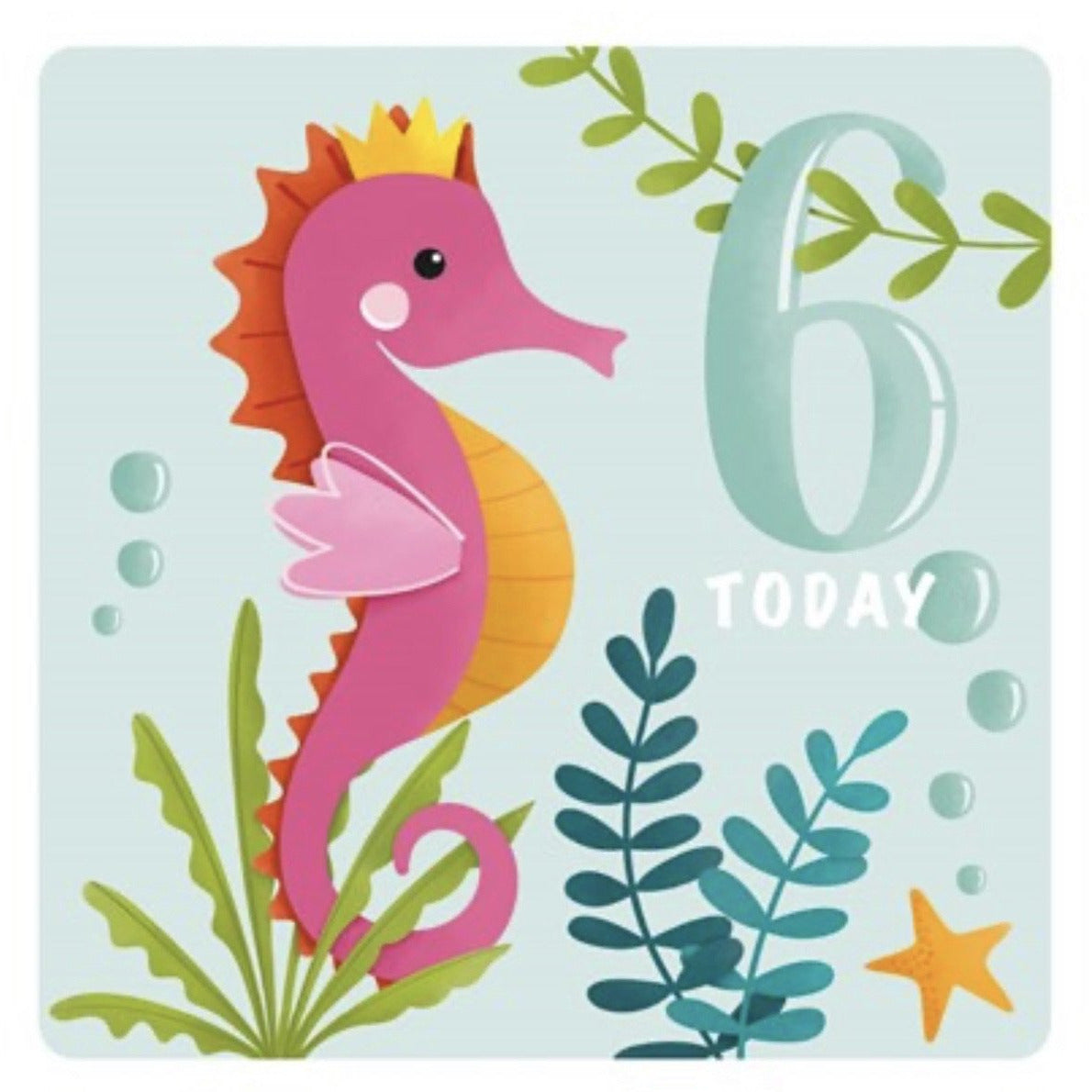 The Art File Sixth Birthday Card -  Seahorse (4706191769732)