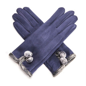 Miss Sparrow London 'Betty' Gloves - Navy (4354994897028)