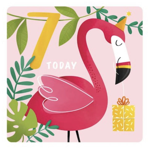 The Art File Seventh Birthday Card - Flamingo (4706194161796)