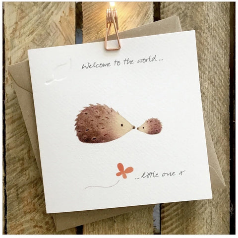 Ginger Betty Hedgehog Baby Card (6078281121958)