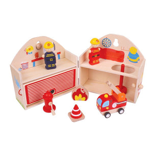 Bigjigs Toys Wooden Mini Fire Station Playset
