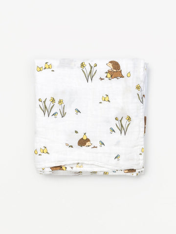 Organic Muslin Swaddle - Hedgehog (6605800079526)