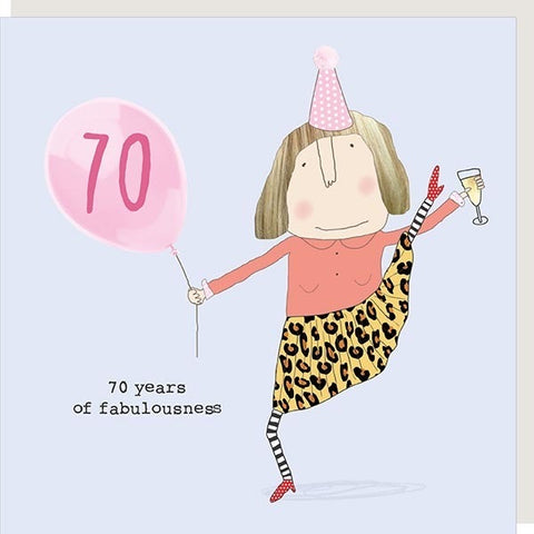 Rosie Made A Thing 70th Birthday Card (girl) (6138565394598)
