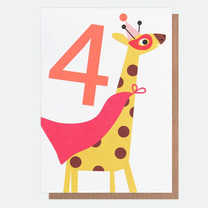 Giraffe Fourth Birthday Card (6619839692966)