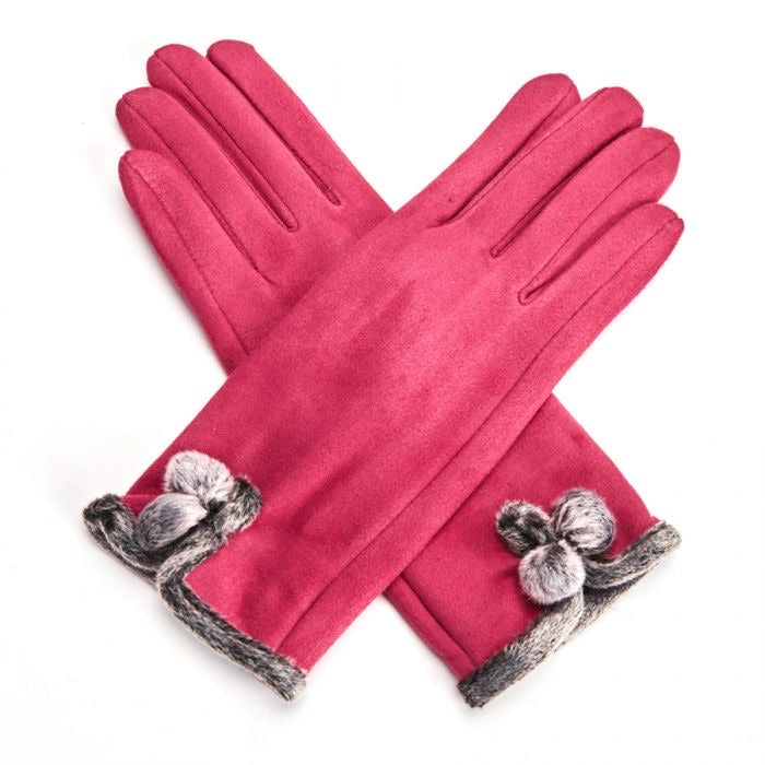 Miss Sparrow London 'Betty' Gloves - Berry Pink (4354995191940)