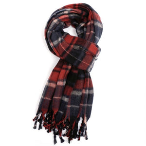 Miss Sparrow Tartan Winter Scarf - Red/Blue (5945848168614)