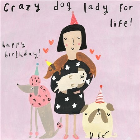 Sooshichacha Crazy Dog Lady Birthday Card (5458818302118)