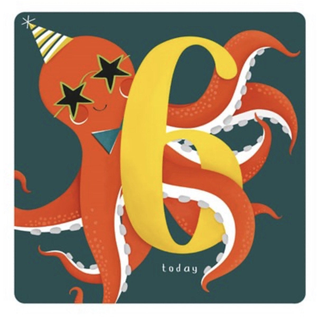 The Art File Sixth Birthday Card -  Party Octopus (4706188165252)