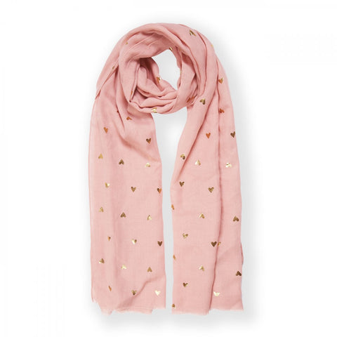 Heart Print Metallic Scarf (6151137493158)