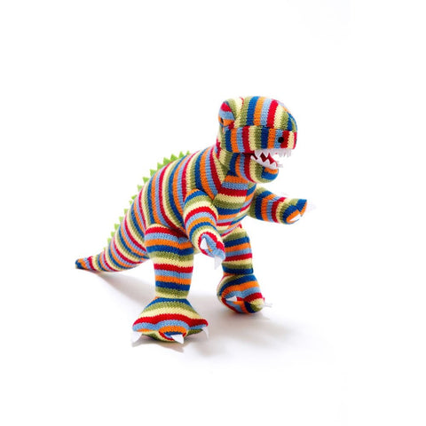Best Years Stripey Knitted T Rex Toy