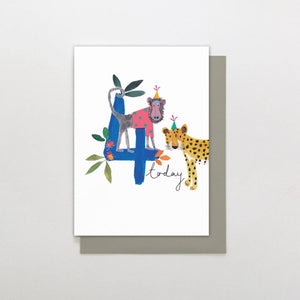 Stop The Clock Fourth Birthday Card (blue) (6085317656742)