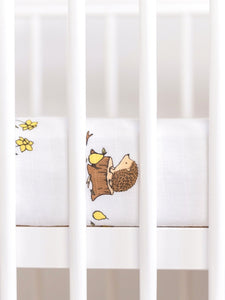 Organic Muslin Fitted Cotbed Sheet - Hedgehog (6605887242406)