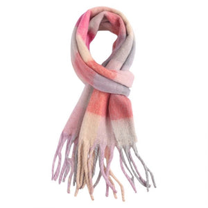 Miss Sparrow Pink Check Winter Scarf (4354978250884)