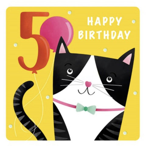 The Art File Fifth Birthday Card - Cat (4706176860292)