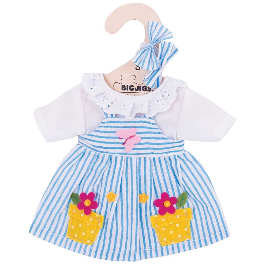 Bigjigs Toys Blue Striped Dolls Dress (1511645446189)