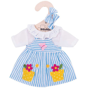 Bigjigs Toys Blue Striped Dolls Dress