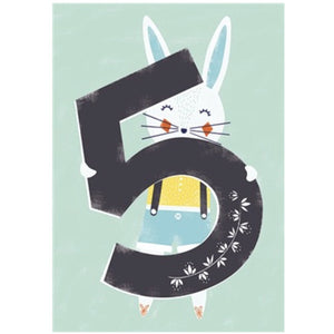 The Art File Fifth Birthday Card - Rabbit (4706123776132)