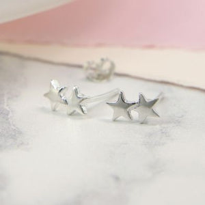 Peace of Mind Sterling Silver Double Star Earrings (6004952137894)