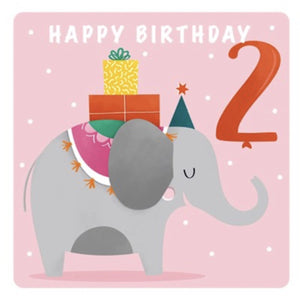 The Art File Second Birthday Card - Elephant (4706162573444)