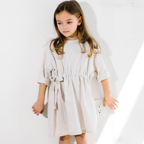 Natural linen dress for trendy kids