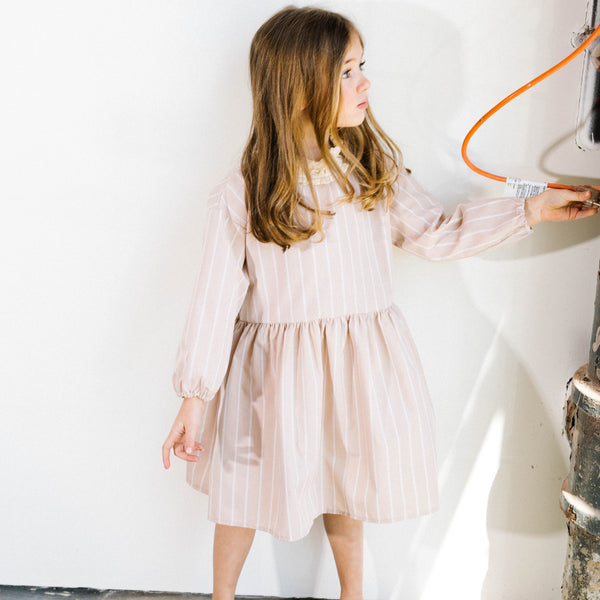 beige stripe dress for stylish kids. Unique and minimal style trendy kids clothing.