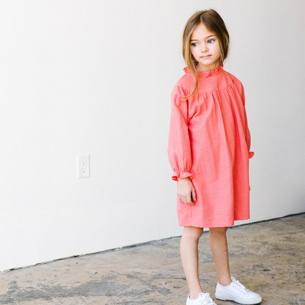 Coral yoke Dress - Mondän