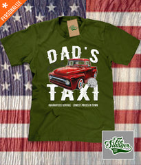 Custom Dad's Taxi Shirt in army green