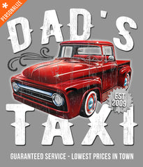 Custom Dad's Taxi Shirt design closeup