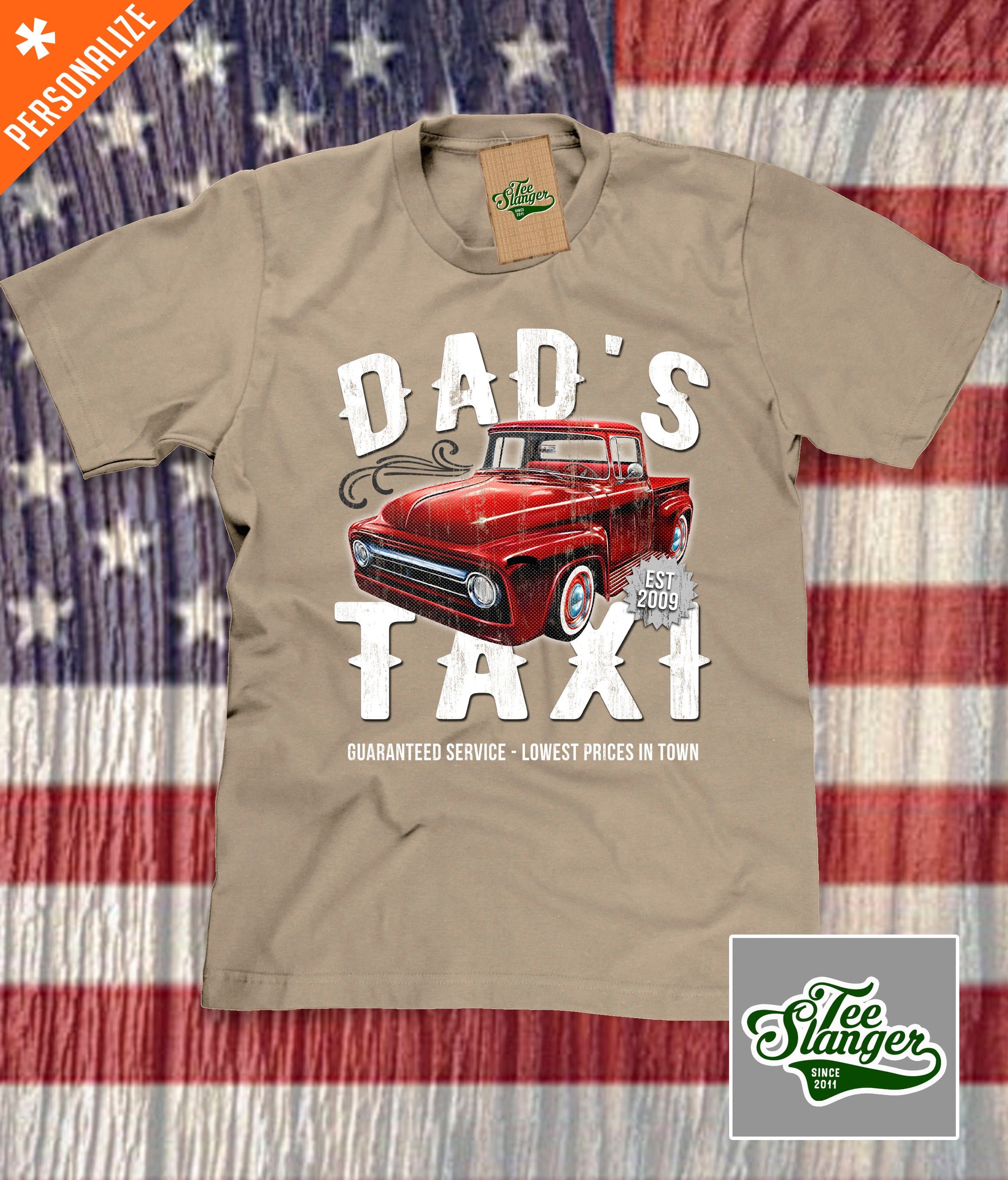 Custom Dad's Taxi Shirt in khaki