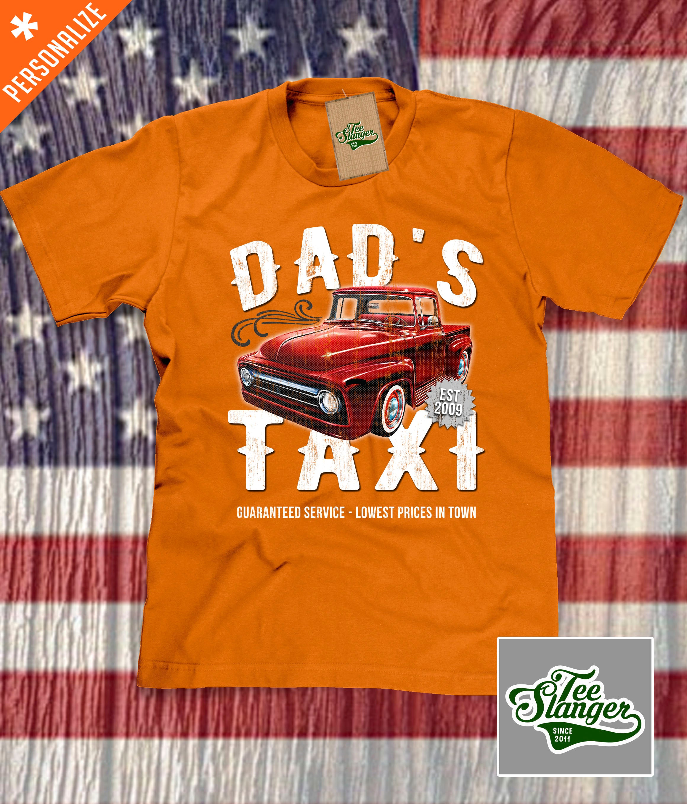 Custom Dad's Taxi Shirt in orange
