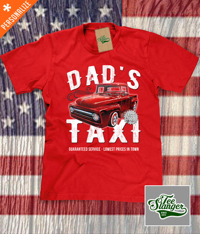 Custom Dad's Taxi Shirt in red