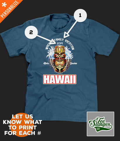 Hawaii Vacation Shirt personalization options