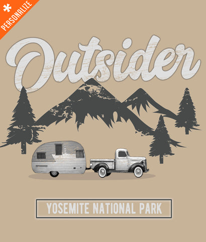 Outsider Mountain Camping T-shirt design closeup