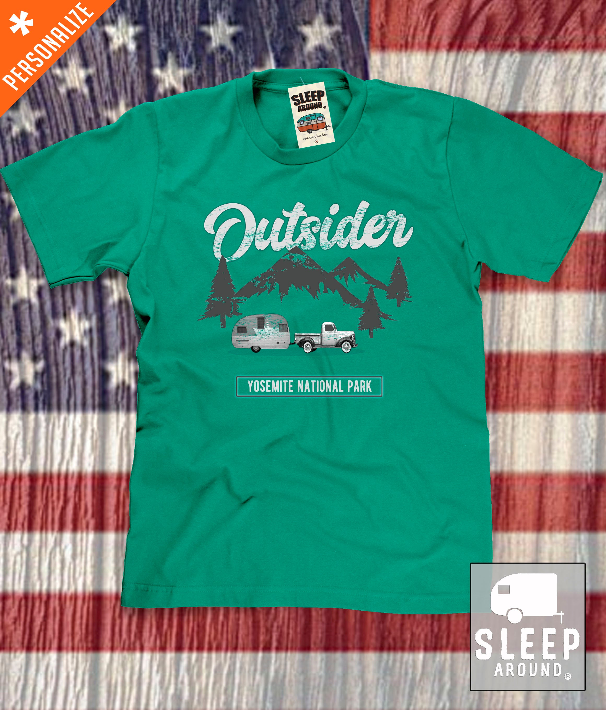 Outsider Mountain Camping T-shirt in green