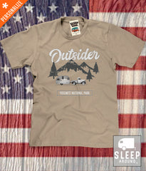Outsider Mountain Camping T-shirt in khaki