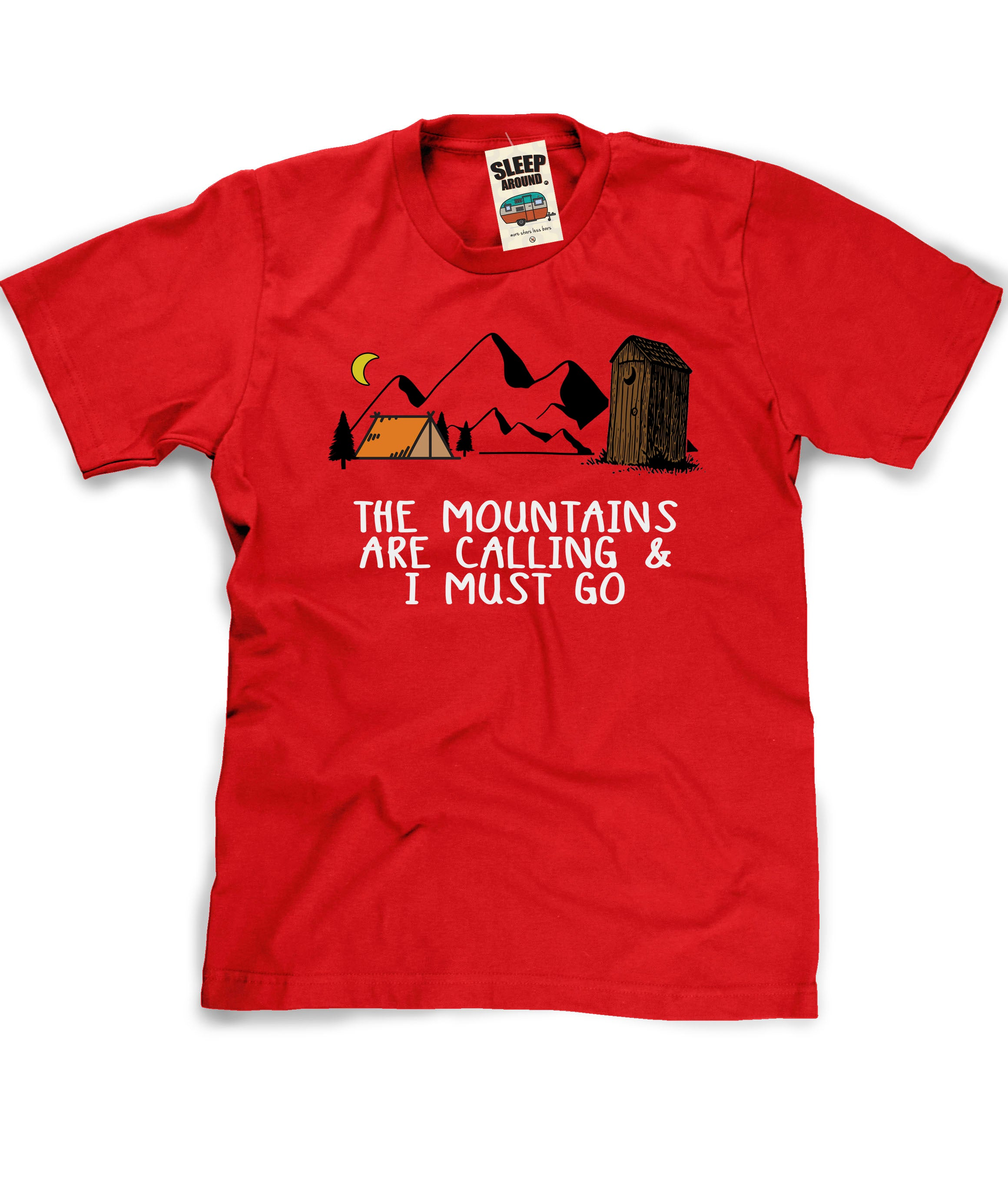 Mountains are Calling and I Must Go Camping tee in red
