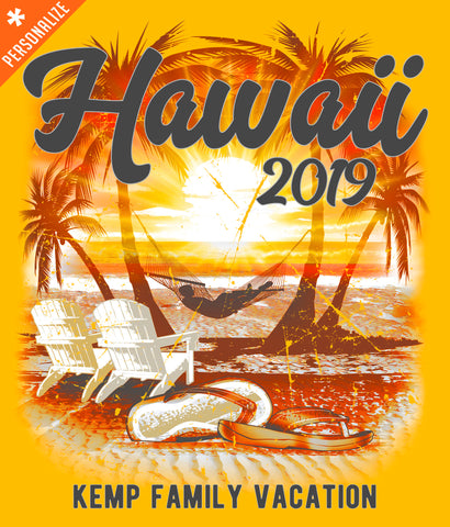 Hawaii Vacation Shirt Personalized design closeup
