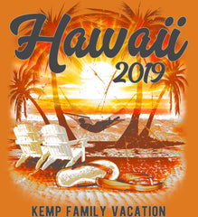 Hawaii Vacation Shirt Personalized in orange