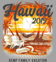 Hawaii Vacation Shirt Personalized in silver